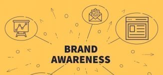 Conceptual business illustration with the words brand awareness