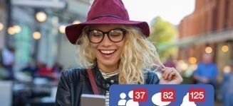 Woman excited about getting attention on social media