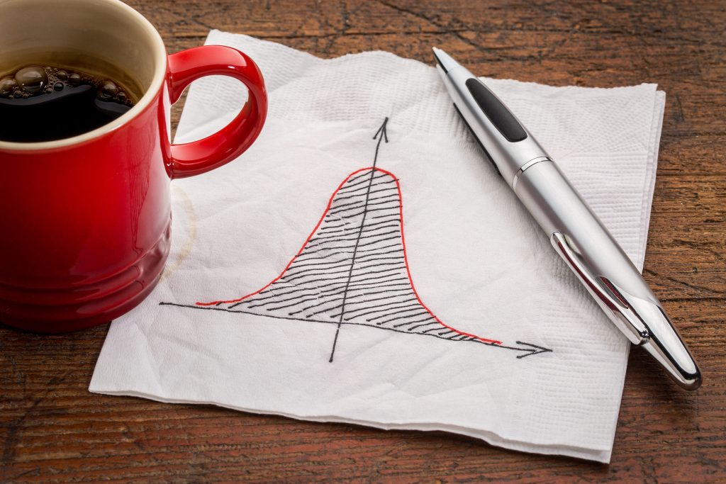 Bell curve or normal distribution graph on white napkin with a cup of coffee