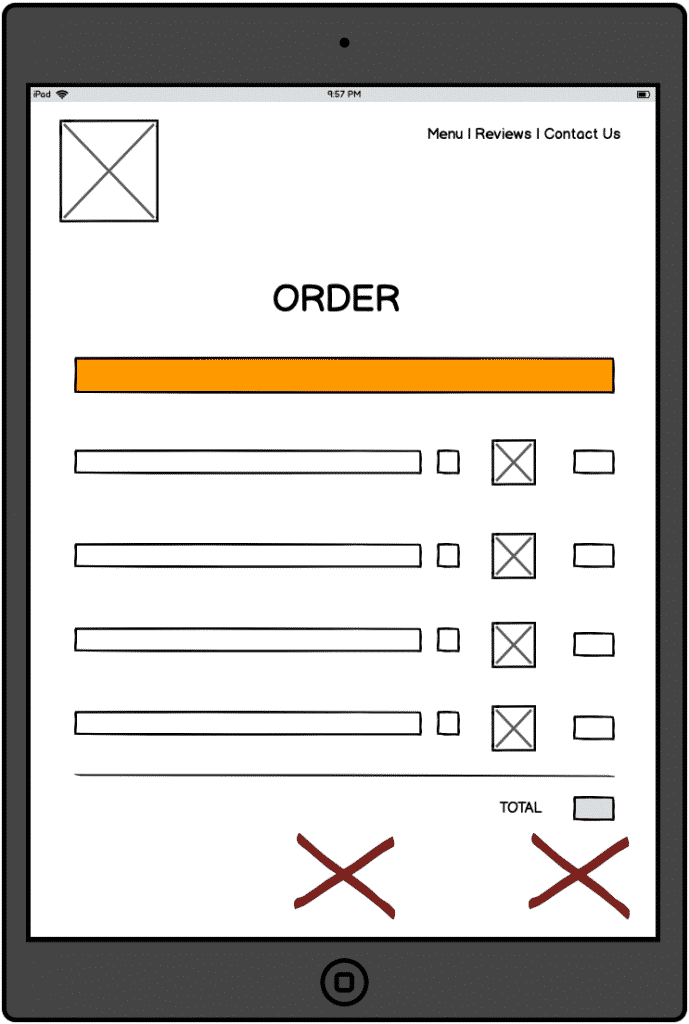 Touchscreen-device-showing-wireframe-of-ordering-UX-from-the-restaurant-missing-buttons